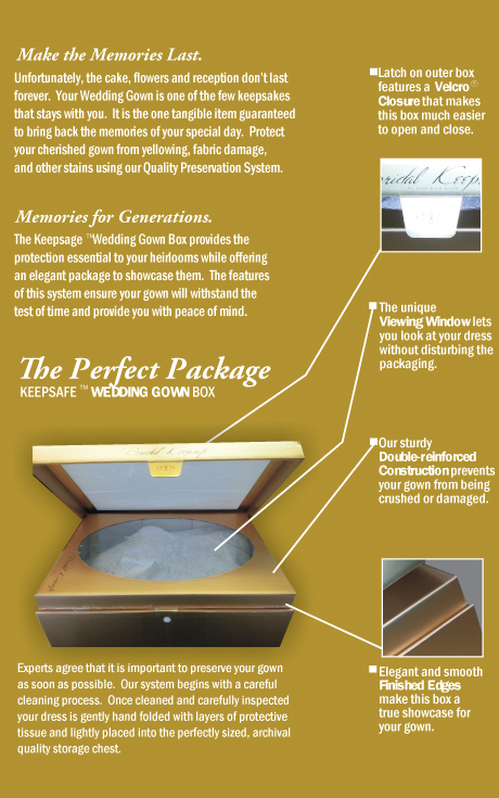 Keepsafe Box for wedding gowns, formal wear, gowns, quilts, and costumes
